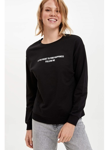 DeFacto Mesaj Baskılı Sweatshirt Siyah